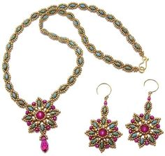 2-hole  SuperDuo Necklace and Earring Pattern for purchase--Size 11/0 seed beads, 3mm beads (round beads, fire-polished beads, etc.), SuperDuo beads, 6mm round beads (druk, pearl or fire-polished bead) and a top-drilled or vertically-drilled accent bead or briolette (round, fire-polished, pearl, teardrop, pendant, etc., vertically-drilled or top-drilled) Stitch: Triangle weave, Various