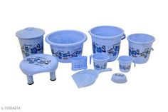 Bath Sets 10 Pieces Plastic Bathroom Set Blue Pack: Multipack Country of Origin: India Sizes Available: Free Size   Catalog Rating: ★4.3 (511)  Catalog Name: Fancy Bath Sets CatalogID_1806235 C132-SC1587 Code: 859-10084214-