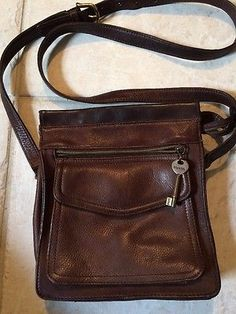 Fossil Vintage American Classic  Brown Leather Organizer Cross body Bag EUG