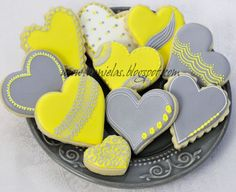 Gray Yellow and White Heart Cookies--love this color combo; never thought I could use it for food!