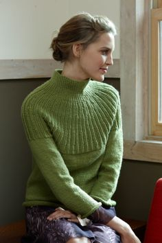 Free knitting pattern for Top Down Pullover with interesting yoke design