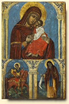 Virgin and Child with Saints George and Jerome - exhibited at the Temple Gallery, specialists in Russian icons