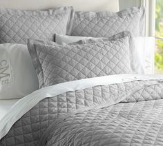 Belgian Linen Diamond Quilt & Pillowcase | Pottery Barn AU sale $267