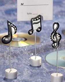 Musical note place card holders #wedding www.BlueRainbowDesign.com
