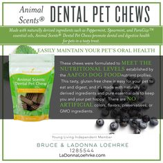 You love your pets like family, so why wouldn't you share the goodness of essential oils with them? Animal Scents® Dental Pet Chews combine the power of Spearmint, Peppermint, and ParaGize™ essential oils to create a tasty treat that supports oral and digestive health for dogs and other pets. Product Info page... https://static.youngliving.com/en-US/PDFS/PetChewsPIP.pdf www.LaDonnaLoehrke.com