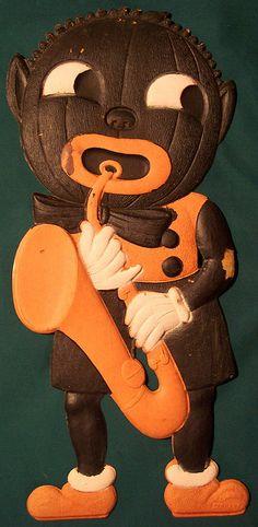 Vintage Halloween German Diecut Black Pumpkin Man with Sax | Flickr - Photo Sharing!