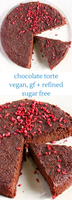 This Gluten-Free Vegan Chocolate Torte is gooey and fudgy. It requires just 6 ingredients! Oil-free optional, paleo, refined sugar free and naturally sweetened. #paleo #glutenfree #dairyfree #chocolate #cake #plantbased #refinedsugarfree #vegan #dessert