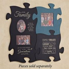 Our Family Photo Frame Puzzle Piece Wall Art