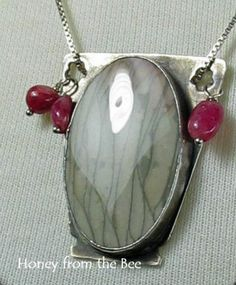 Remembered Bouquets pendant - Picture Jasper captured in fine silver with rubalite dangles; Honey from the Bee
