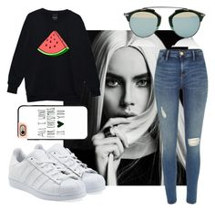 """""""Untitled#1"""" by angieleabourgeois ❤ liked on Polyvore featuring Christian Dior, River Island, adidas Originals, Casetify, women's clothing, women, female, woman, misses and juniors"""