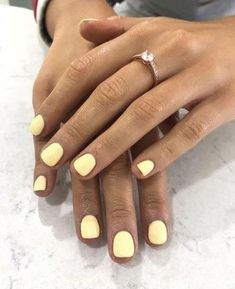 Trending yellow nails trending nail polish colors summer light pastel yellows ✨ shop the look! Trending Nail Polish Colors, Nail Polish Trends, Nail Trends, Trendy Nails, Cute Nails, My Nails, Summer Shellac Nails, Cute Nail Colors, Gel Nail Colors