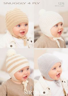 Baby Hats in Snuggly 4 Ply - 1276 - Babies - For - Patterns  #amidsummerknitsdream #loveknittingcom