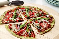Looking for a healthier version of pizza with less calories and carbs?  Try this recipe with a spinach or whole wheat tortilla and add plenty of nonstarchy vegetables.