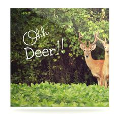 """Robin Dickinson """"Ohh Deer"""" Green Brown Luxe Square Panel"""