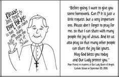 The Pope's Homework- printable prayer card with the Pope's homework from his speech in New York, asking kids to pray for him.