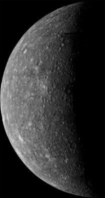 Mercury. This is Mariner 10's first look at Mercury, the planet closest to our sun. The image, taken March 24, 1974, was snapped as the craft passed to the planet's dark side, from a distance of 3,340,000 miles. Photograph by NASA/JPL/USGS