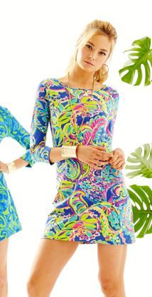 We love bright printed cotton dresses and The Marlowe t-shirt dress is just that. 3/4 sleeves for some added coverage.