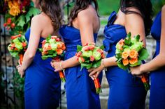 wedding bouquets pictures with orange and blue | Love the blue dress with the orange flowers | Wedding Things.