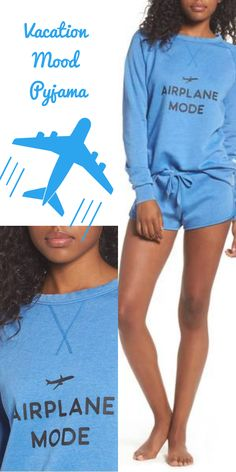 love this idea for vacation or business travel airplane mode casual sweatshirt #pyjama #loungewear #homewear #businesstravel #travel #womanfashion #ad