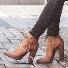 Shoespie Chic Nude Chunky Heel Pumps