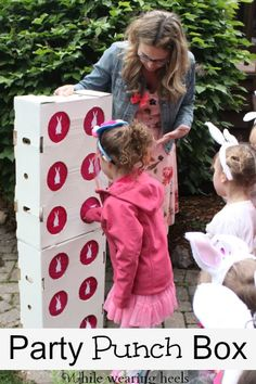 Diy Punch Box is a great alternative to a pinata.  Fun kid birthday party activities. From While Wearing Heels.
