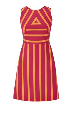 Karen Millen, STRIPED DRESS Pink/Multi