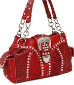 WWP017RD - Fashion Buckle Purse w/Rhinestone