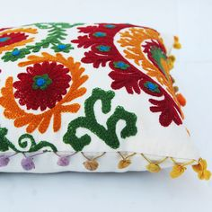 Indian Cotton Cushion Cover Suzani Embroidered Decorative Pillow Case Home Decor #KhushiHandicraft