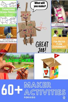 You and your kids are going to love these maker activities! Find design builds, tinker trays, invitations to play, and more to make today! #makeractivities #STEMeducation #tinker #preschoolSTEM #makerprojects Easy Crafts For Kids, Toddler Crafts, Preschool Crafts, Kid Crafts, Kids Learning Activities, Spring Activities, Stem Activities, Steam Learning