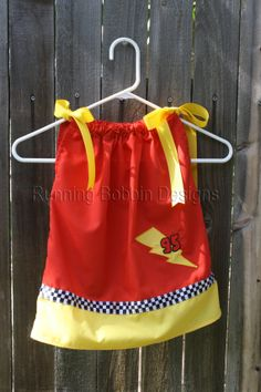 Lightning McQueen Cars Pillowcase Dress - for Brooklyn to wear at Jackson's party :)