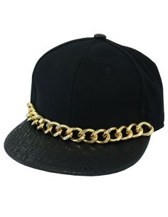 Black Snake Leather Cap Snapback with Gold Chain