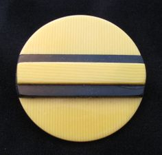 "Vintage CELLULOID button, black & cream art deco, laminate layered, 1&1/2"""