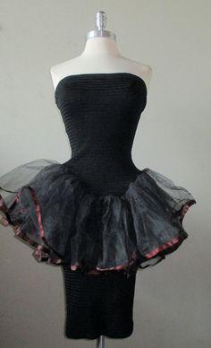 vintage 80 s Betsey Johnson PUNK label black tutu dress ONE SIZE   BetseyJohnson Black Tutu 2134fa39d