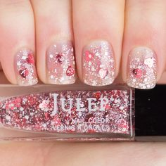 Julep - Hartleigh (Classic with a Twist) Holographic heart glitter top coat (Feb 2015 maven gift)