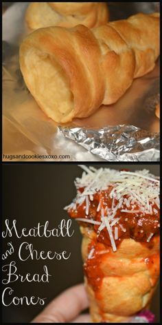 Pillsbury Crescent Roll Bread Cones stuffed with Meatballs and Cheese - great fun food!