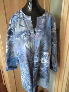 Citron Santa Monica Royal Blue & Purple Flower Cardigan Jacket SZ Large Women