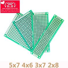 4pcs/Lot 5x7 4x6 3x7 2x8cm Double Side Copper Prototype PCB Universal Board For Arduino Circuit Experiment Board DIY Protoboard Sale Only For US $1.52 on the link Arduino Circuit, Printed Circuit Board, Panel, Experiment, Diy, Copper, Learning, Licence Plates, Circuit