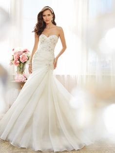 Sophia Tolli - Strapless sweetheart fit and flare wedding dress, let your traditional side show in Phoenix, a strapless sweetheart fit and flare gown in opal organza. Final Sale