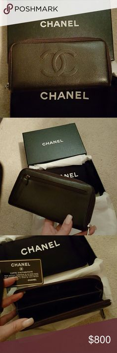 Chanel wallet Chanel brown caviar leather zip around wallet with authenticity card CHANEL Bags Wallets