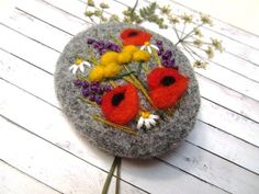 Flower jewelry Needle felted brooch Natural jewelry Wool felt