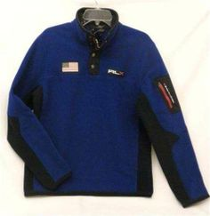 Royal Blue & Black Men's M RLX Ralph Lauren USA Polar Fleece Mockneck Jacket NWT