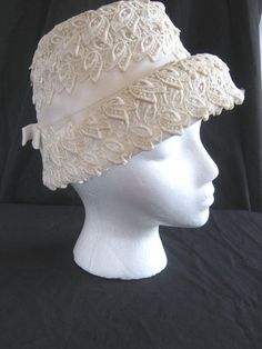 1960s vintage hat ivory lace tailored by vintageboxofdelights, $35.00