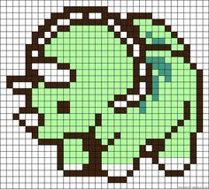 Perler Beads - Triceratops Pattern
