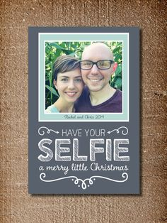 Selfie Christmas Card, Christmas Photo Card, Selfie, Chalkboard This design is made to order - you choose your colors and photo. . . . . . . . .