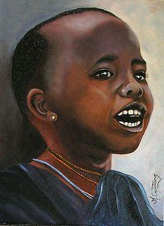 Africa Art, Black Women Art, Female Art, Children, Oil On Canvas, African Art, Paintings, Portraits, Woman Art