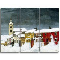 Design Art 'Harald Sohlberg - Street in Roros in Winter' Lansdcape Artwork