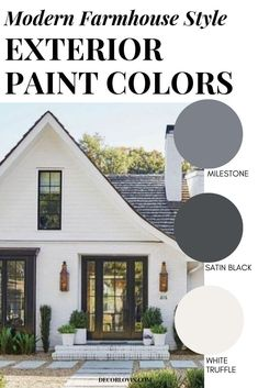 8 perfect color schemes for your modern farmhouse exterior! Get the perfect modern farmhouse paint color for your upcoming renovation or new build home. Best House Colors Exterior, Farmhouse Exterior Colors, White Exterior Paint, Farmhouse Paint Colors, House Paint Exterior, Paint Colors For Home, Exterior Design, Modern Exterior, House Exterior Color Schemes