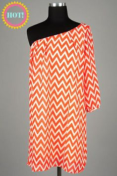 Chevron Print One Shoulder Dress with Pleats at the Neckline, Gathered Bell Sleeve and Relaxed Cut Fit by Zen Spell.