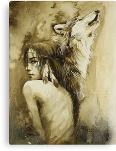 'She Wolf' Canvas Print by Sara Riches Wolf Tattoos, Fantasy Kunst, Fantasy Art, Native American Wolf, Native American Drawing, Wolves And Women, Indian Artwork, She Wolf, Wolf Girl