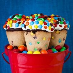 Chocolate cupcakes become something special when combined with Mini M's and placed in an M ice cream cone.